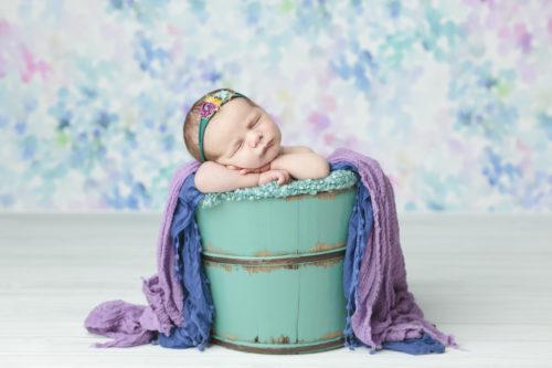 Kansas City Newborn Photographer | baby girl in turquoise bucket