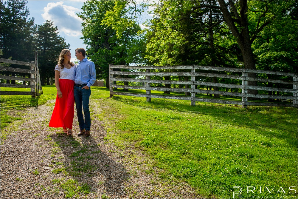 KC Wedding Photographers - bright countryside engagement photos
