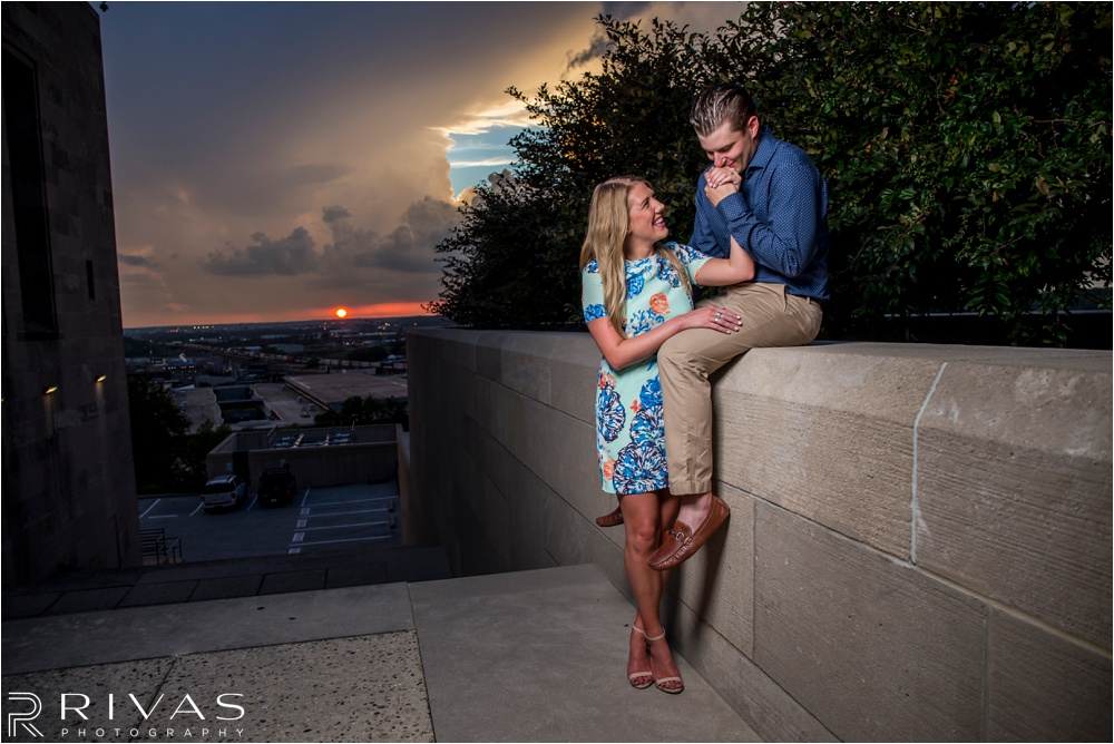 Kansas City Wedding Photographer | Liberty Memorial Engagement Session | Sunset engagement pictures