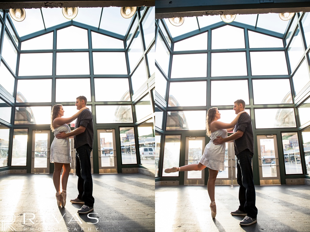 Schwinn Produce Farm Sunflower Engagement Pictures | Two candid pictures of an engaged couple doing ballet dance moves.