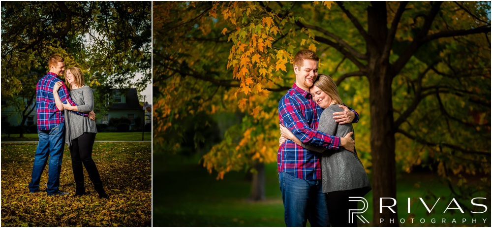 Colorful Fall Engagement Session | Two pictures of an engaged couple embracing under colorful trees at Loose Park.