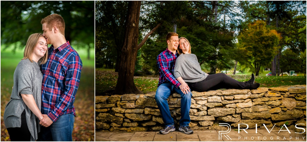 Colorful Fall Engagement Session | Two candid pictures of an engaged couple sitting on a stone ledge at Loose Park.