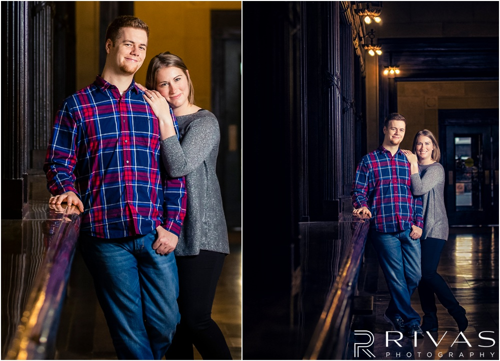 Colorful Fall Engagement Session |  Two pictures of an engaged couple embracing inside Kansas City's Union Station.