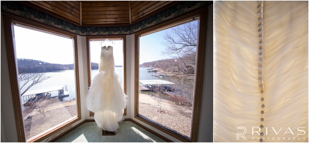 Lake of the Ozarks Elopement | Two pictures of a wedding gown hanging in a bay window at a lake house.