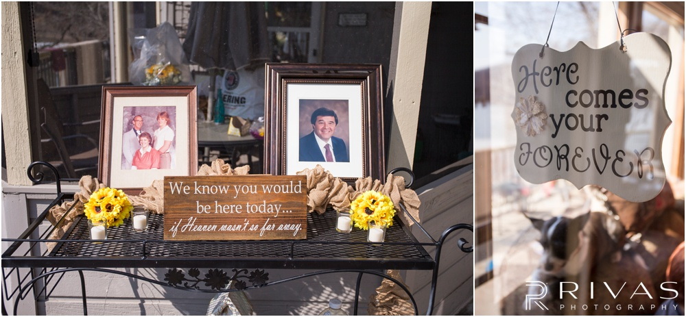 Lake of the Ozarks Elopement | Two photos of wedding decor and signing on display at a lake house.