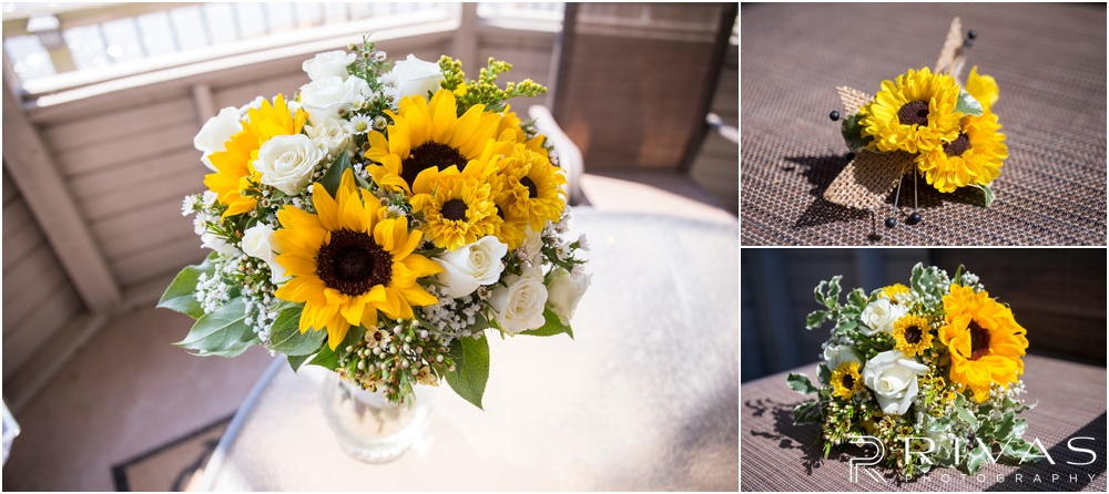 Lake of the Ozarks Elopement | Three close-up photos of a bride's bouquet and groom's boutonniere.