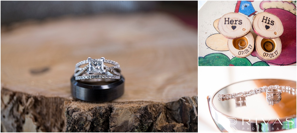 Lake of the Ozarks Elopement | Three close-up photos of a bride and groom's wedding rings and jewelry in custom ring boxes.