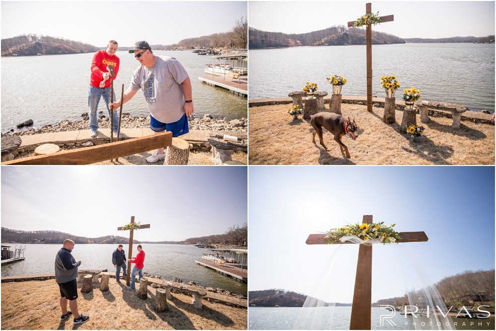 Lake of the Ozarks Elopement | Four pictures of a groom, his dad, and best man building and putting up a cross on the lake side that will be background of the wedding ceremony.