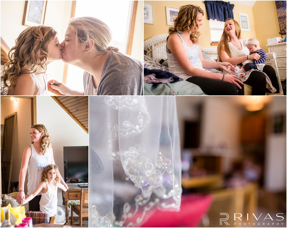 Lake of the Ozarks Elopement | Four candid photos of a bride and her bridal party getting ready before the ceremony.