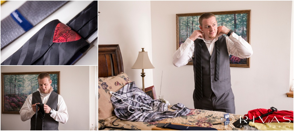 Lake of the Ozarks Elopement | Three candid photos of a groom getting dressed on his wedding day.