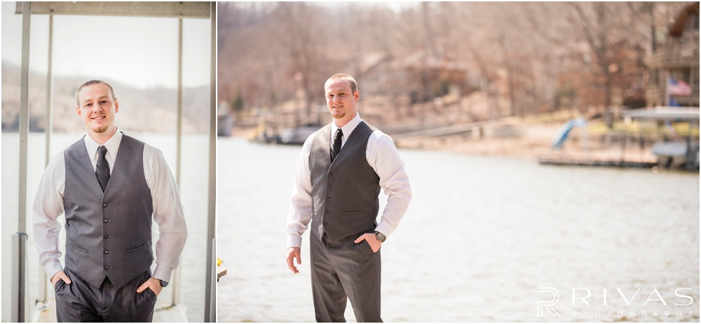 Lake of the Ozarks Elopement | Two photos of a groom on his wedding day by the lake.