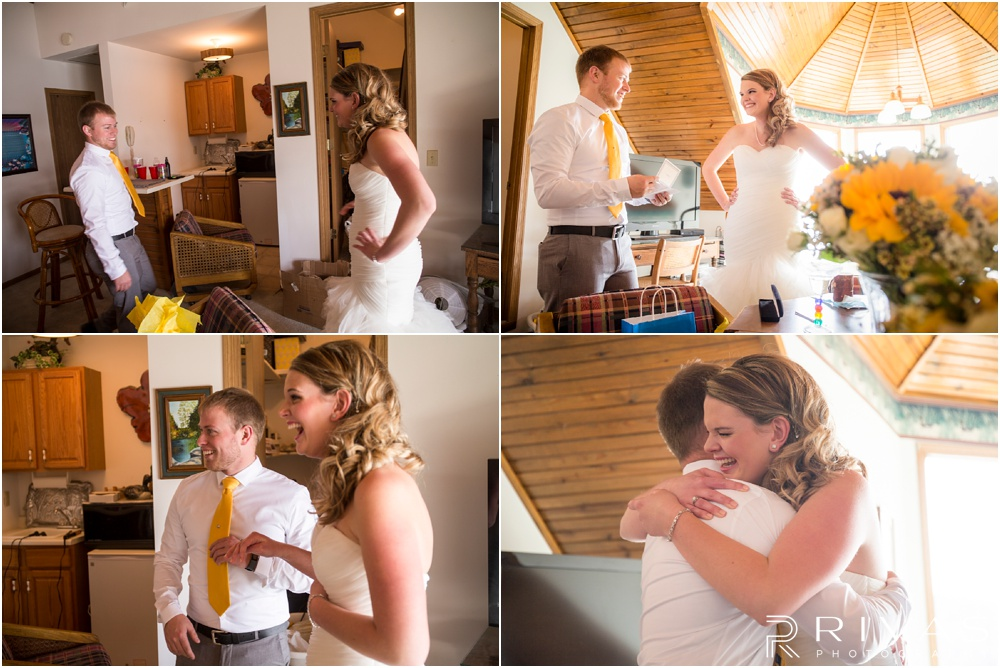 Lake of the Ozarks Elopement | Four candid pictures of a bride and her cousin exchanging gifts on her wedding day.