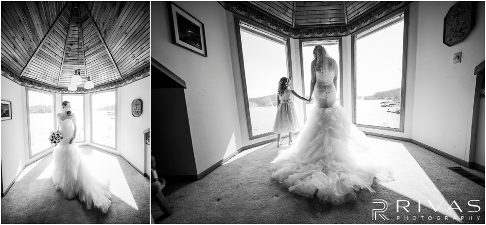 Lake of the Ozarks Elopement | Two photos of a bride in her wedding gown on her wedding day.