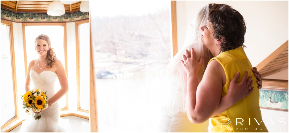 Lake of the Ozarks Elopement | Two close-up pictures of a bride on her wedding day.