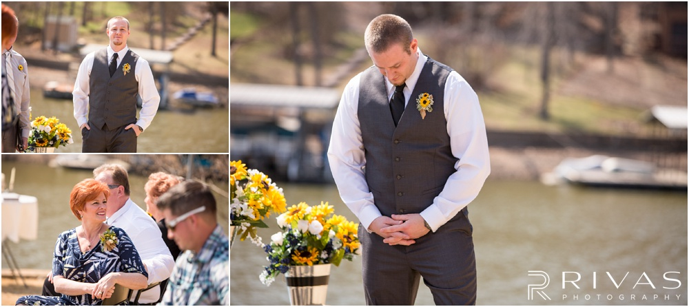 Lake of the Ozarks Elopement | Three pictures of a groom waiting for his bride at the alter on their wedding day.