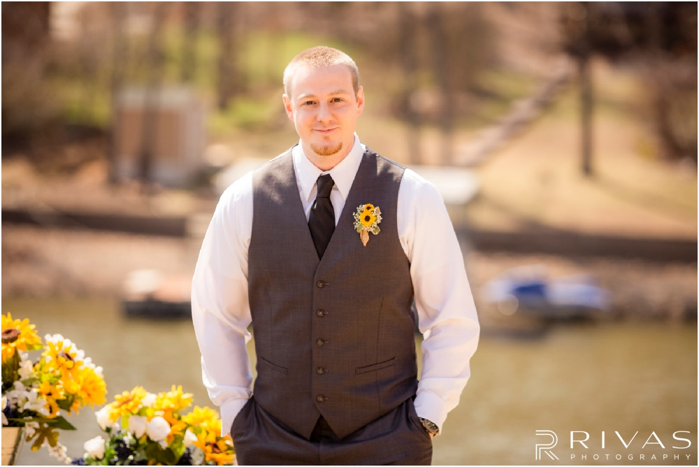 Lake of the Ozarks Elopement | An image of a groom waiting for his bride on his wedding day.