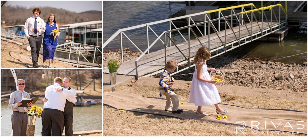 Lake of the Ozarks Elopement | Three candid pictures of bridal party members walking down the aisle to the lakeside elopement.