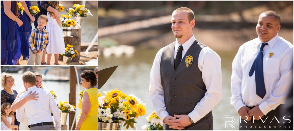 Lake of the Ozarks Elopement | Three candid images of a ring bearer and groom during a lakeside wedding ceremony.