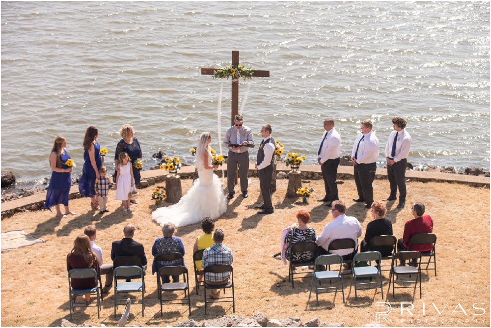 Lake of the Ozarks Elopement | A picture of a lakeside wedding ceremony.