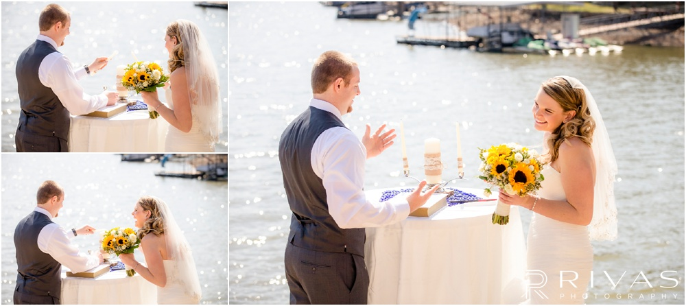 Lake of the Ozarks Elopement | Three candid photos of a bride and groom trying to light a unity candle during their windy lakeside wedding ceremony.