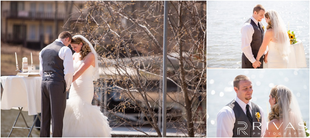 Lake of the Ozarks Elopement | Three pictures of a bride and groom praying during their lakeside wedding ceremony.