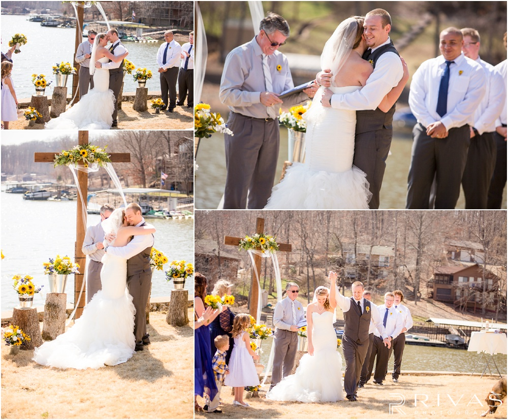 Lake of the Ozarks Elopement | Four candid photos of a bride and groom celebrating their lakeside wedding ceremony.