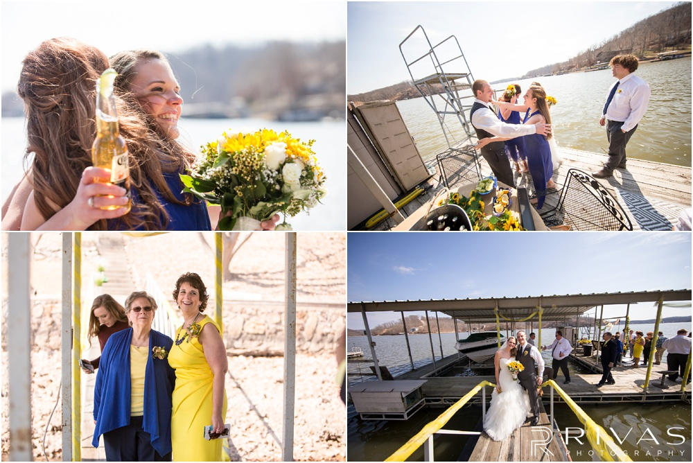 Lake of the Ozarks Elopement | Four candid pictures of a bride and groom celebrating their wedding with drinks on a dock.
