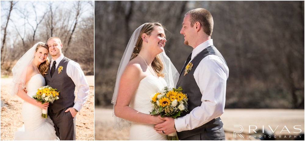 Lake of the Ozarks Elopement | Two candid close-up photos of a bride and groom on their wedding day.