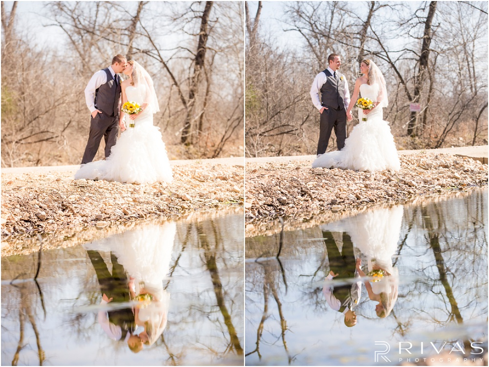 Lake of the Ozarks Elopement | Two pictures of a bride and groom reflected in a stream.