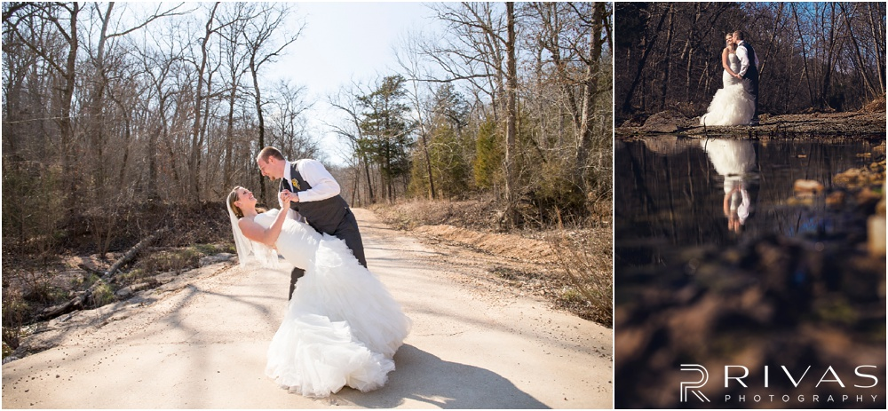Lake of the Ozarks Elopement | Two pictures of a bride and groom hugging on their wedding day.