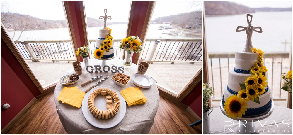 Lake of the Ozarks Elopement | Two photos of the dessert table and wedding cake at a lake-side wedding reception.
