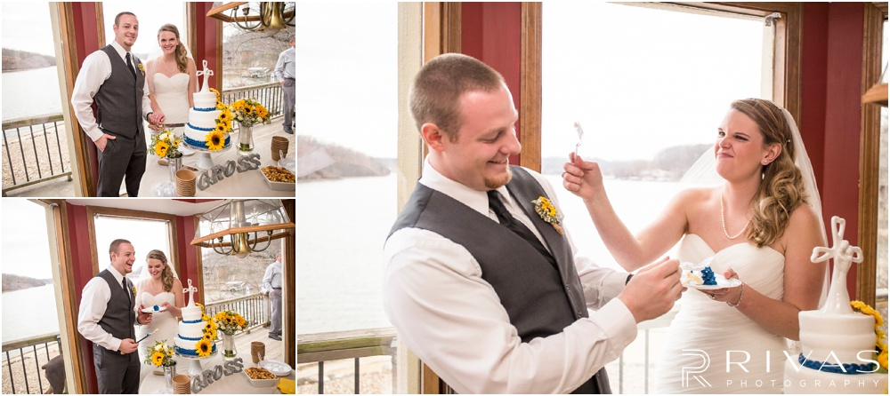Lake of the Ozarks Elopement | Three candid pictures of a bride and groom cutting their wedding cake at their lake-side reception.