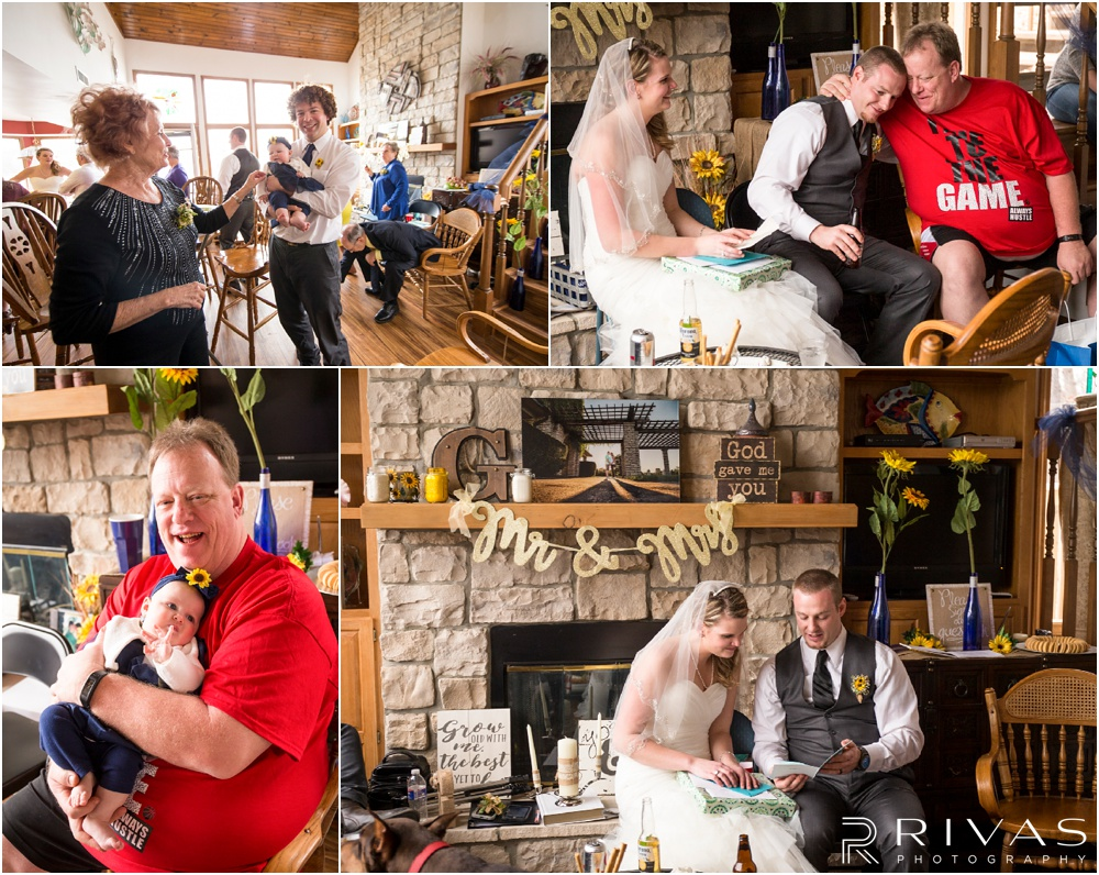 Lake of the Ozarks Elopement | Four candid pictures of a bride and groom celebrating their elopement with friends and family at a lake house.