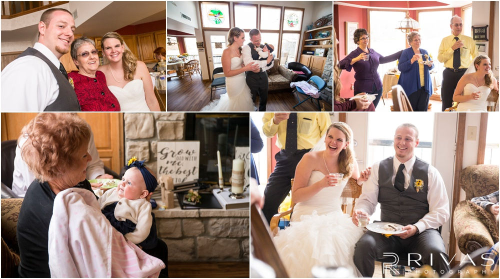 Lake of the Ozarks Elopement | Five candid pictures of a bride and groom celebrating their elopement with friends and family at a lake house.