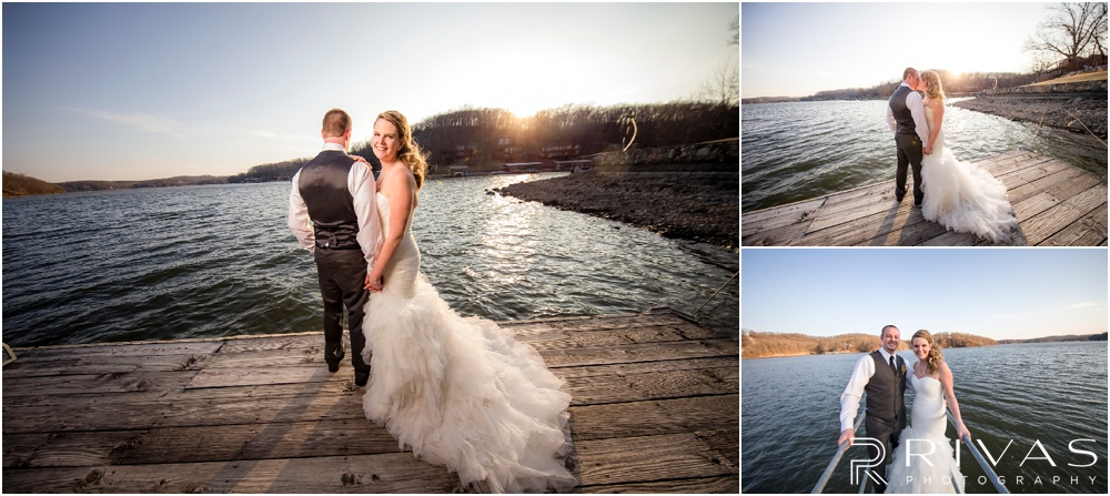 Lake of the Ozarks Elopement | Three pictures of a bride and groom standing on a dock at sunset.