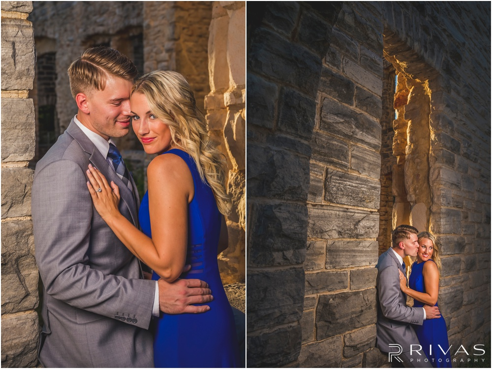 romantic castle ruins engagement pictures | Two pictures of an engaged couple dressed up leaning against a stone wall at sunset.