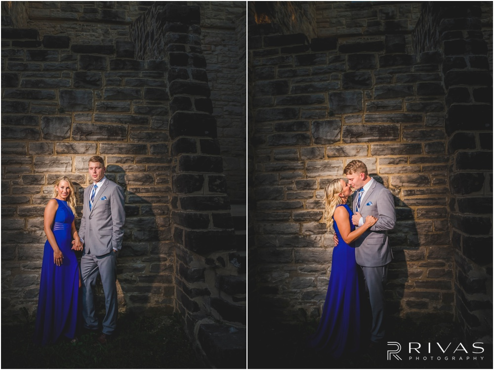 romantic castle ruins engagement pictures | Two photos of an engaged couple embracing near a stone wall.
