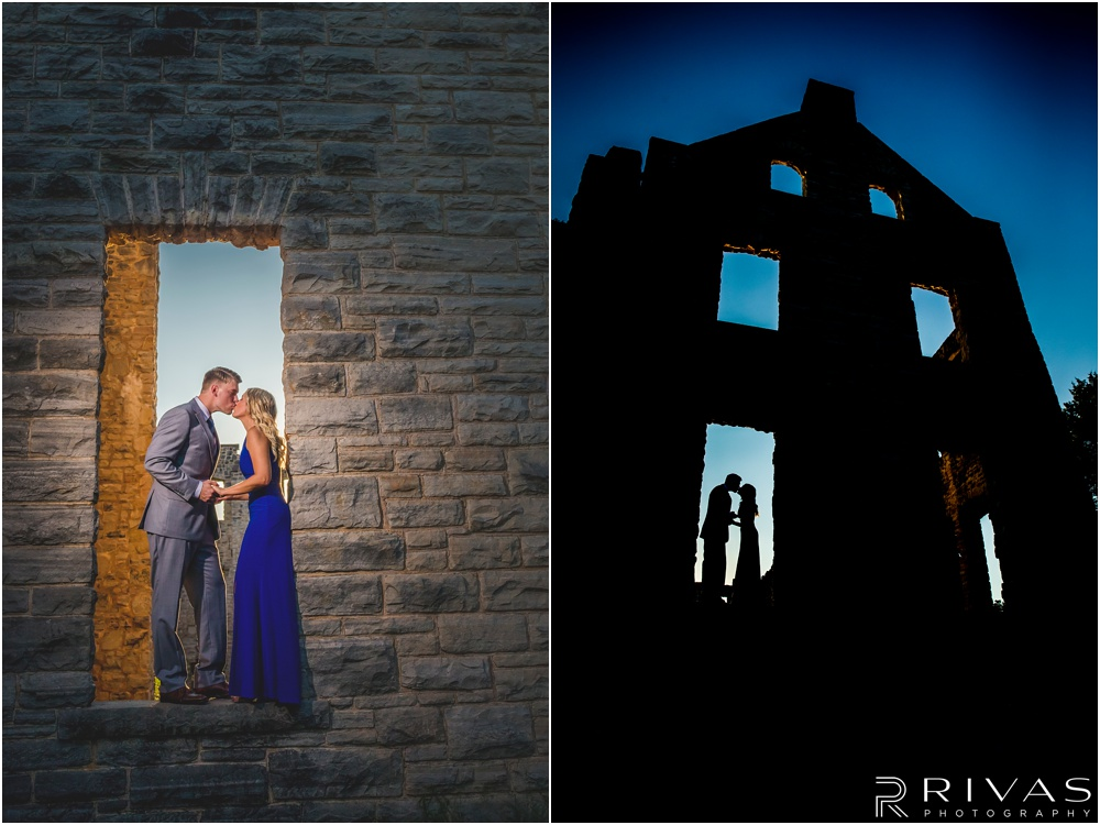 romantic castle ruins engagement pictures | Two pictures of an engaged couple standing in an empty window frame kissing.
