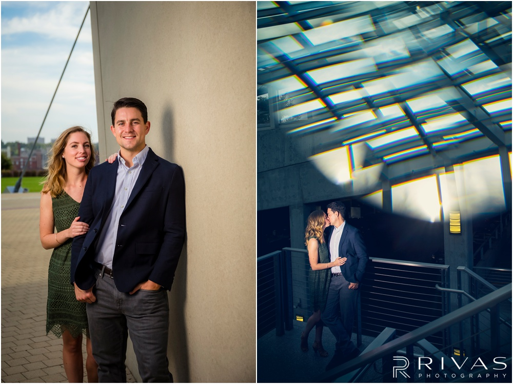 Elegant Kauffman Center Engagement Pictures | Two pictures of a dressed up couple hugging near the Kauffman Center for the Performing Arts.