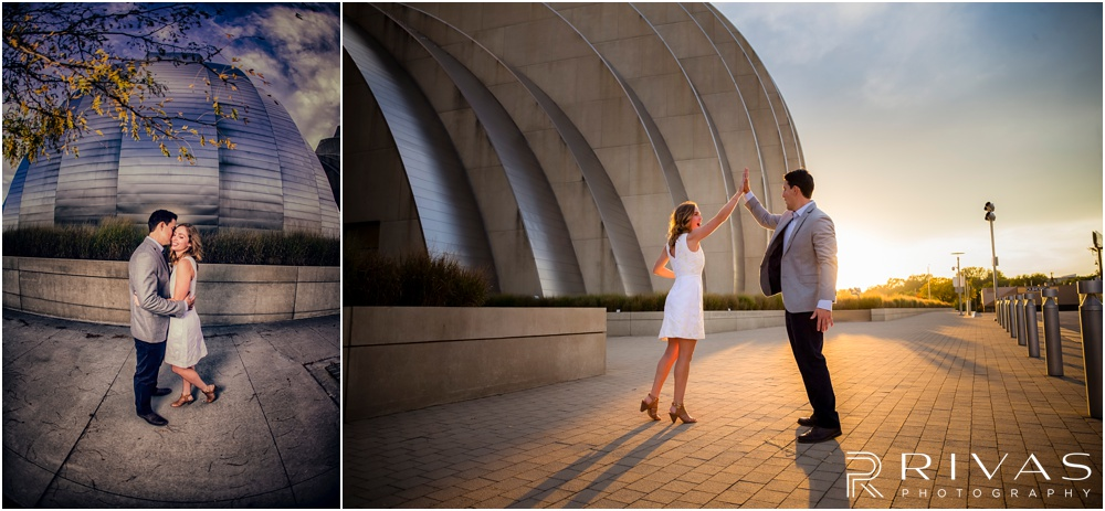 Elegant Kauffman Center Engagement Pictures | Two pictures of a dressed up engaged couple on the north side of the Kauffman Center for the Performing Arts.