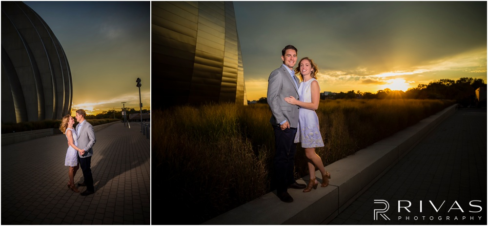 Elegant Kauffman Center Engagement Pictures | Two pictures of a dressed up engaged couple hugging on the north side of the Kauffman Center for the Performing Arts.
