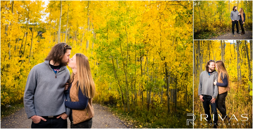 Fall Aspen Engagement Session | Three candid photos of a couple in fall sweatshirts in a grove of yellow aspens outside Aspen, Colorado.