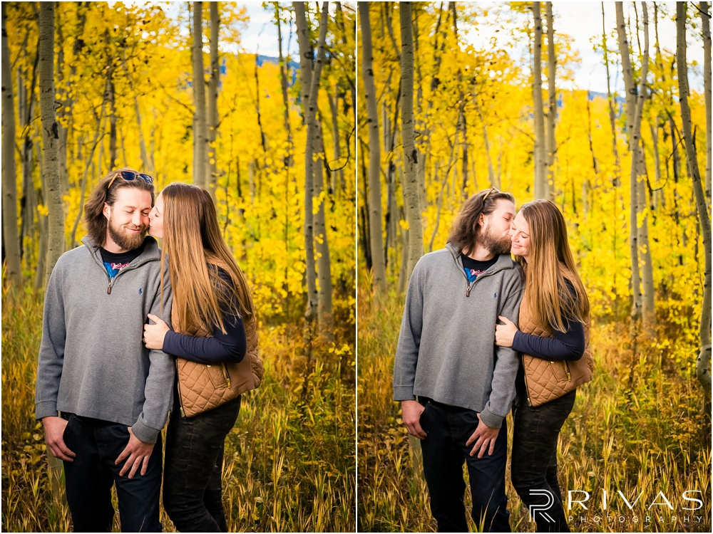 Fall Aspen Engagement Session | Two photos of a couple in fall sweatshirts hugging in a grove of yellow aspens outside Aspen, Colorado.