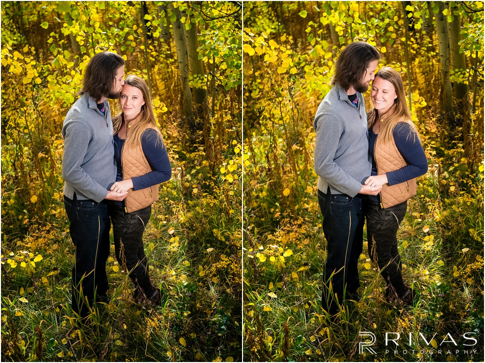 Fall Aspen Engagement Session | Two photos of a couple in fall sweatshirts standing in a grove of yellow aspens outside Aspen, Colorado.