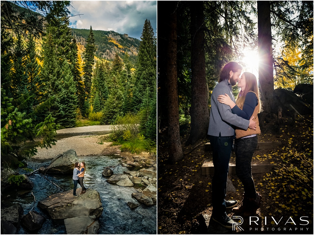 Fall Aspen Engagement Session | Two pictures of a couple hugging on a boulder in a stream and on a trail at a roadside park outside Aspen, Colorado.