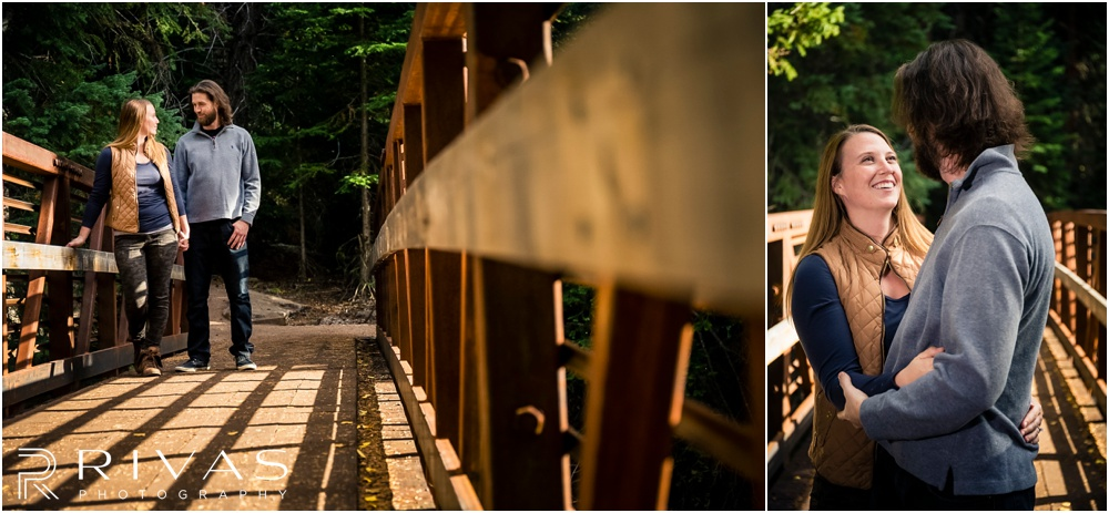 Fall Aspen Engagement Session | Two pictures of a couple standing on an alpine bridge at a roadside park outside Aspen, Colorado.