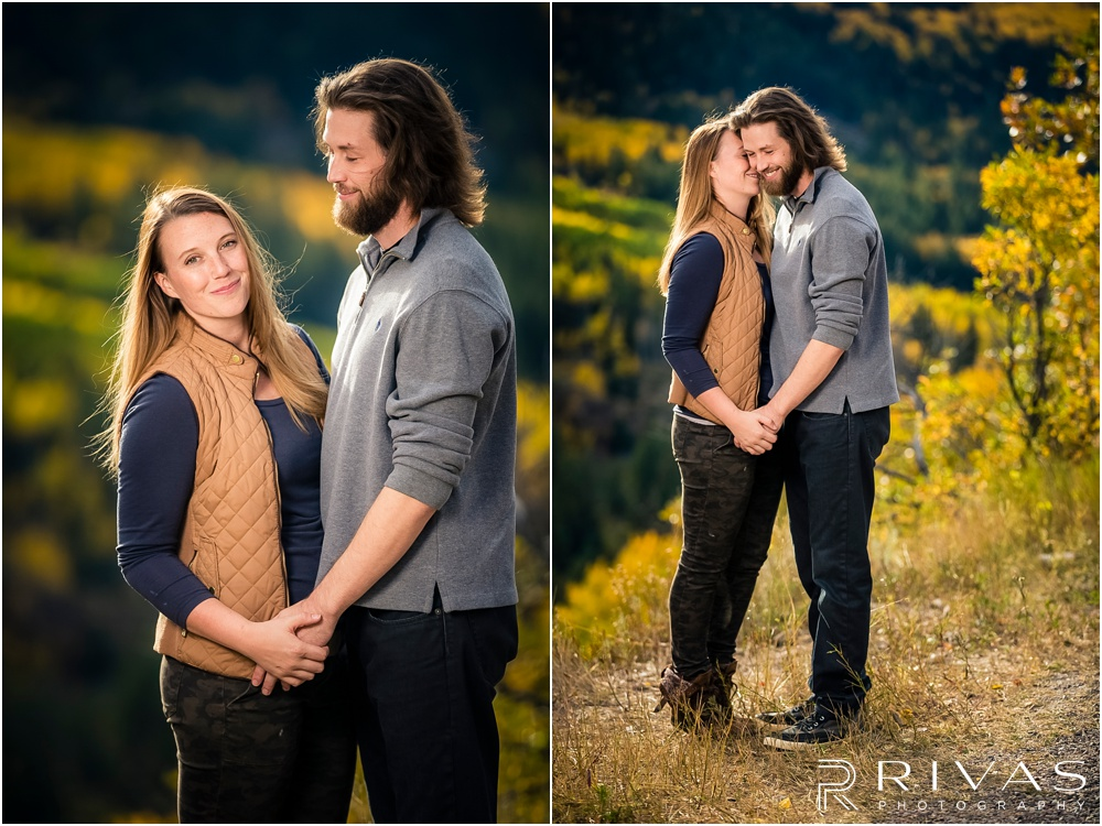 Fall Aspen Engagement Session | Two photos of an engaged couple holding hands on a boulder at a roadside park outside Aspen, Colorado.