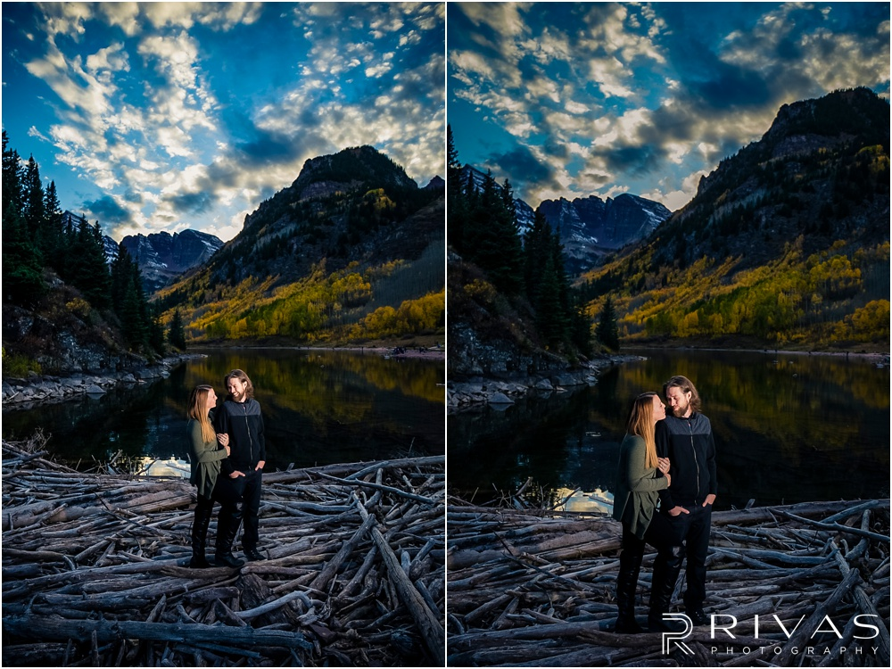 Fall Aspen Engagement Session | Two pictures of an engaged couple in fall sweaters by the lake at Maroon Bells near Aspen, Colorado.