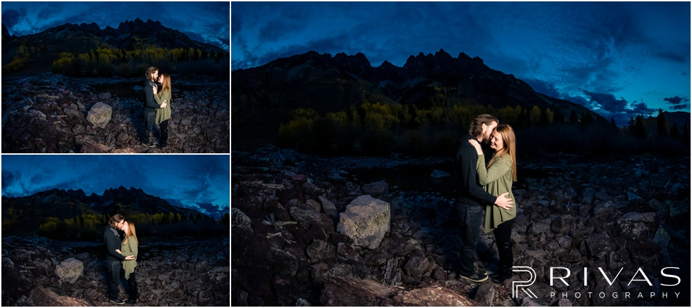 Fall Aspen Engagement Session | Three photos of an engaged couple in fall sweaters at Maroon Bells near Aspen, Colorado.