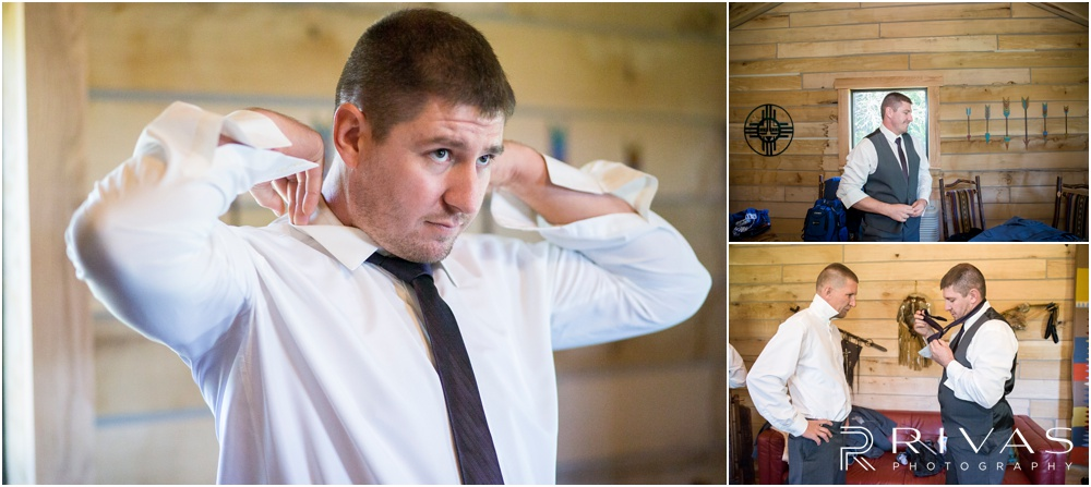 elegant fall wedding buffalo lodge | A groom getting ready for his wedding day in the groom's cabin at The Buffalo Lodge.
